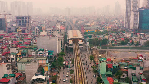 HANOI, VIETNAM - APRIL, 2020: Aerial panorama view of the railroad overpass with Live影片