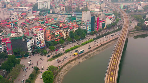 HANOI, VIETNAM - APRIL, 2020: Aerial panorama view of the railroad overpass and Live影片