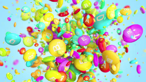 Vitamin pills blast in 4K GIF