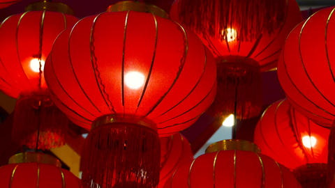 Chinese new year lanterns in the night sky Live Action