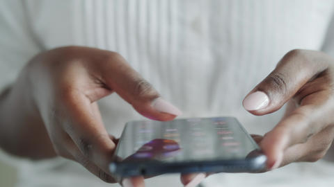 03 Black Girl Using Mobile Phone Fingers On Telephone Screen Live Action