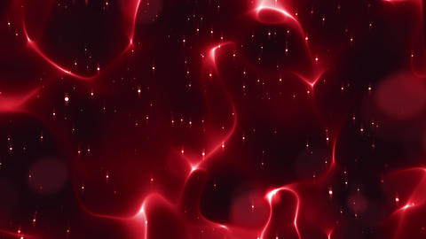 Glowing Sparkles And Bokeh On Flowing Red Lines Animation