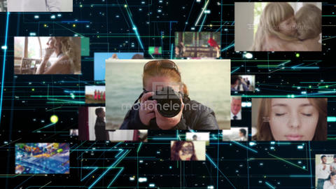 Floating random multi screen. Cyber space Display After Effects Template