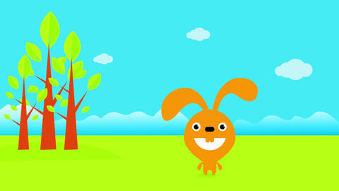funny rabbit with huge smile living in and open field enjoying his natural habitat full of trees and Animation