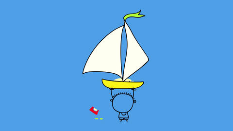 very small young kid in the ocean playing with a big sailboat making it fly over his head suggesting Animation
