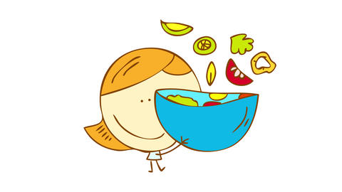 happy girl hugging a huge bowl of tasty organic salad with tomato onions and other ingredients Animation