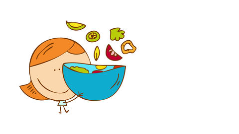 round headed girl with elegant hairdo big smile and light blue dress stirring a salad in the air on Animation