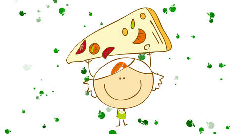 little girl with round smiling face dreaming with holding a big slice of pizza with delicious Animation