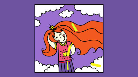 dreamy princess on a squared frame holding a golden star wand and a crown with parts of her red hair Animation