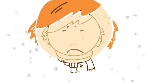homeless kid freezing out in the street on a snowy night alone and hungry about to cry for help Animation