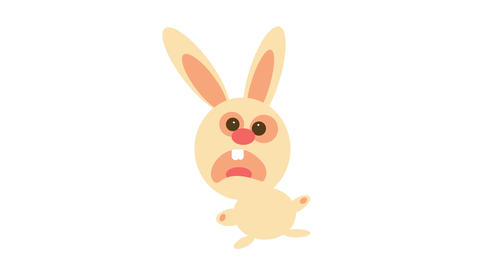 scared rabbit with rounded head and weird body position like if it was twisted with paws and long Animation