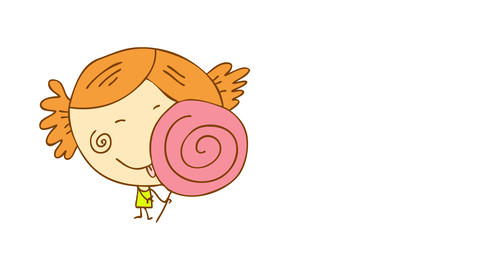 delighted young girl with dimples on her cheeks and childish hairstyle eating a pink rounded Animation