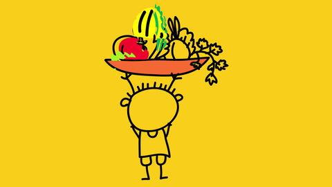 grown up kid with strong looking body raising above his head a bowl full of vegetables and fruits Animation