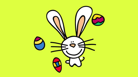 flipping easter bunny appearing in the center of screen bringing colorful eggs painted by hand full Animation