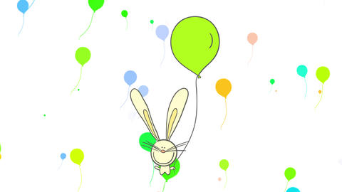 yellow bunny with adorable smile long whiskers fluffy fur and one ear bigger than the other holding Animation