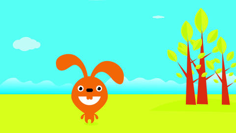 silly rabbit laughing to the camera standing on a green field under a clear blue sky near tall trees Animation