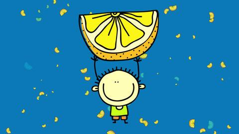 joyful little boy with an innocent smile on his face standing on a sea of lemon slices carrying a Animation