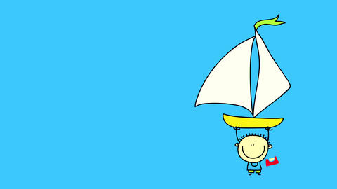 cheerful young boy transporting a sailboat to the vast blue ocean by lifting it above his tiny body Animation