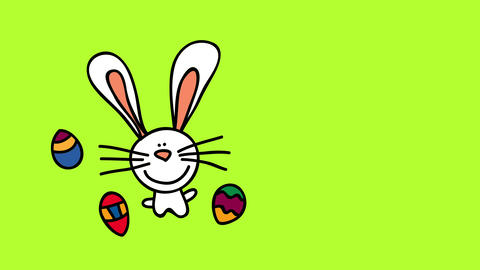 white bunny falling in pieces on left side of screen with cute face and long whiskers opening its Animation