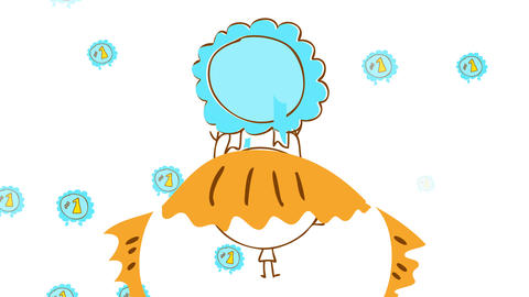 hand drawn girl lifting a light blue number one badge over her rounded head surrounded with badges Animation