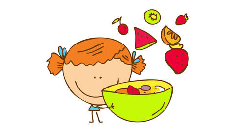 tiny girl with big head and skinny arms handling a big bowl of fruit salad with strawberries Animation