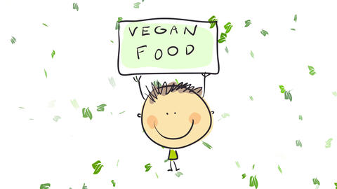 healthy young boy smiling while holding a sign above his rounded head in support of vegan food Animation