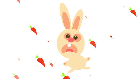 puzzle coming together of a frightened bunny running away from killer carrots moving all around it Animation