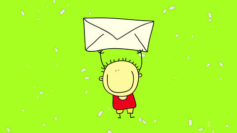 little men with upbeat attitude and wearing summer clothes in a sea of envelopes transporting one Animation