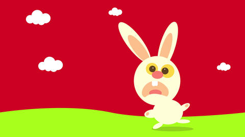scared rabbit apparently caught by accident doing something bad twisting its head completely in a Animation