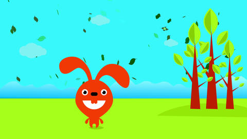 happy rabbit with red fur smiling with a beautiful landscape behind with blue sky and green ground Animation