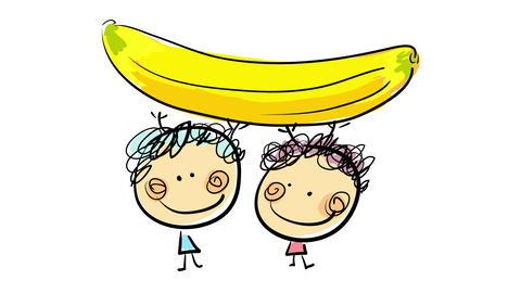 healthy boy and girl drawn by hand under a big yellow banana holding it suggesting love for fruits Animation