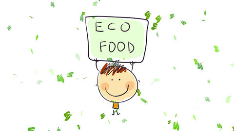 cheerful boy standing on a wind storm encouraging people to start consuming eco food calling for Animation