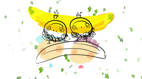 pink girl and blue boy playing with a huge banana toy holding it above their small bodies with happy Animation