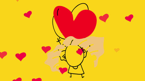 small old lady with a happiness expression lifting her arms celebrating love while small hearts fade Animation