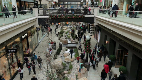 Festive shopping mall Christmas holiday season HD 0265 Footage