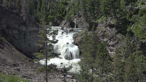 Firehole Falls waterfall Yellowstone National Park 4K Footage