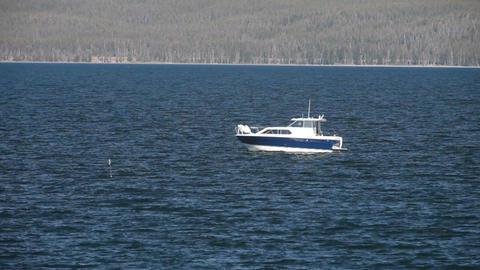 Fishing boat Yellowstone Lake P HD 2662 Footage