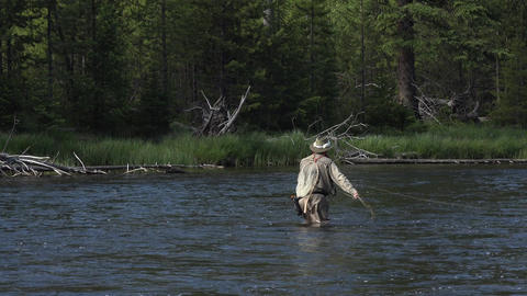 Fly fishing recreation sport Yellowstone river 4K Footage