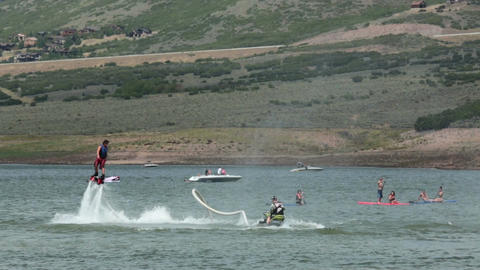 Fly Board on mountain lake slow motion HD 9491 GIF