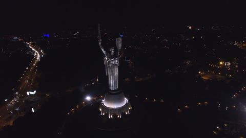 Aerial View of Mother Motherland at Night in Kiev Footage