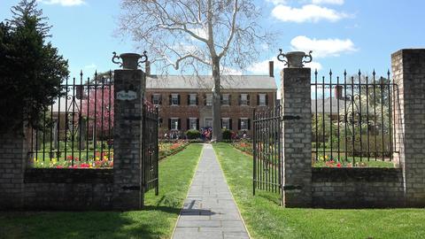 Fredericksburg Virginia historic Chatham Manor garden gate 4K Footage