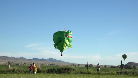 Frog Prince hot air balloon flight across rural farms 4K 045 Footage