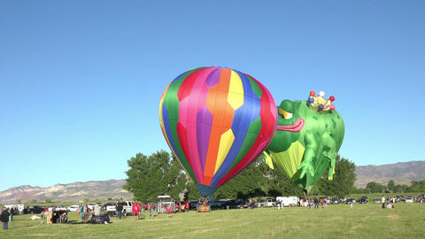 Frog Prince hot air balloon ready for takeoff launch 4K 042 Footage