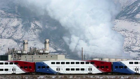 Front Runner commuter train electric power plant pollution HD 0192 Footage