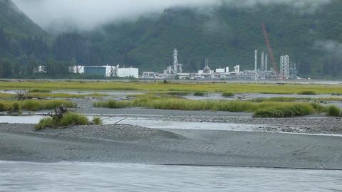 Gas refinery glacial river Valdez Alaska P HD 8561 Footage