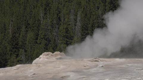 Geothermal steam geyser Yellowstone National Park 4K Footage