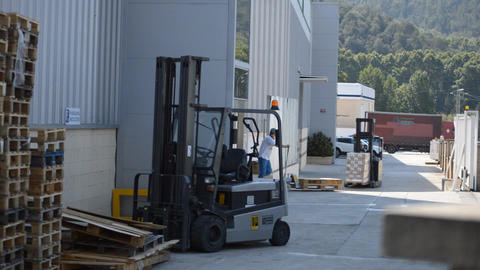 Forklift And Pallet Jack Stock Video Footage