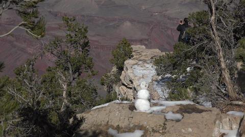 Grand Canyon beautiful nature winter snowman 4k Footage