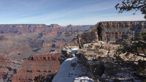 Grand Canyon winter Oriental tourist lookout 4K Footage