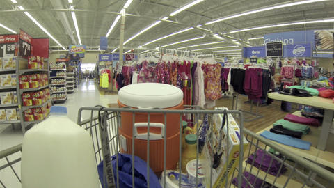 Grocery store walking through clothing with cart POV HD 001 Footage